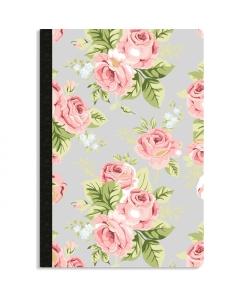 Grey Floral- Dot Grid Notebook