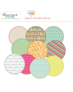 Sweet Notes digital stitched circles