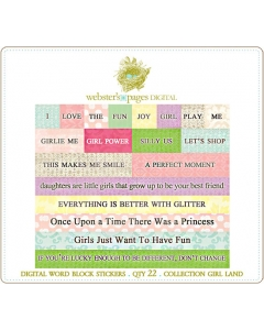 Girl Land Word Block Stickers