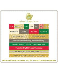 Royal Christmas Word Block Stickers