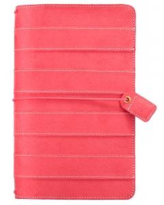 Pink Stitched Stripe Suede Traveler