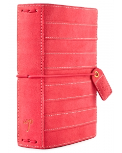 Pink Stitched Stripe Pocket Suede Traveler