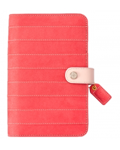 Pink Stitched Stripe Suede Binder