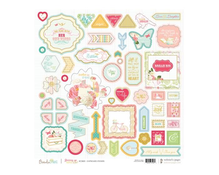 Chipboard Sticker Board- Growing up Girl