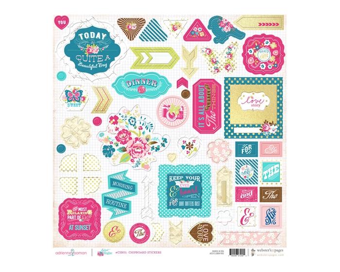 Chipboard Sticker Board- Sweet Routine