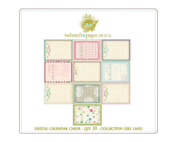Girl Land Digi Calendar Cards